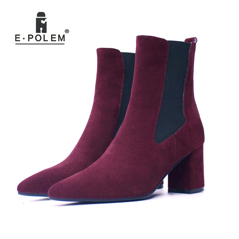 Fashion Female Ankle Boots for Women Genuine Leather High Heel High Upper Chelsea Boots Trendy Lady Boots 2018 ankle boots for women leather boots luxury designer socks shoes short female knitting weave fashion high heel boots