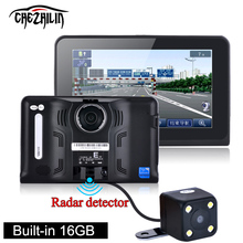 New 7 inch GPS Navigation Android GPS DVR Camcorder 16GB Allwinner A33 Quad Core 4 CPU Radar Detector Rearview Camera Free Map