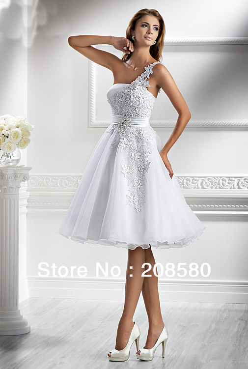Aliexpress.com : Buy White Lace Wedding Dress Short One Shoulder ...