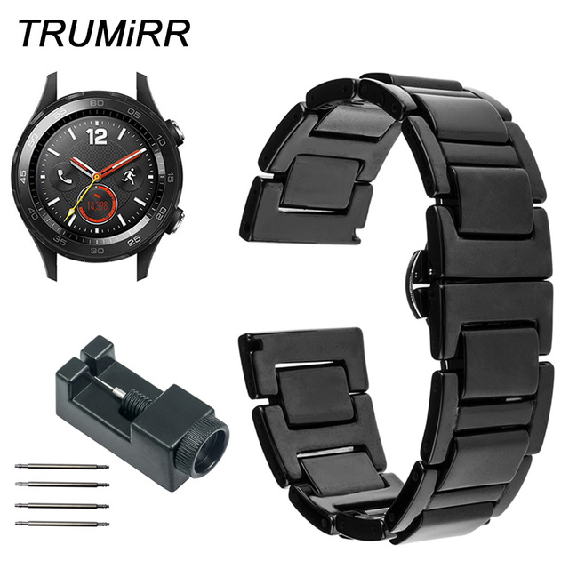 ebfc58f6f4e Relógio de Pulseira De Cerâmica completo para Huawei 2 Seixo Tempo Rodada  20mm Bradley Pulseira de