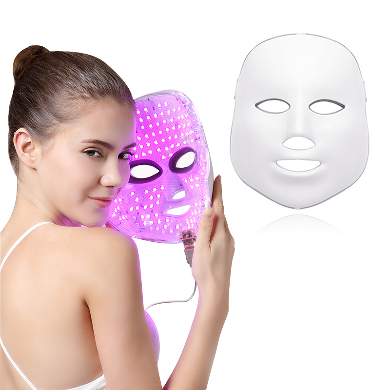 7 Colors Led Facial Mask Beauty Skin Care Rejuvenation Wrinkle Acne Removal Face Beauty Therapy Whitening Tighten Instrument(China)