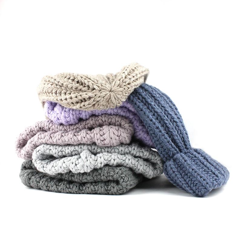 [FLB] Knitting wool ball skullies beanies Casual streetwear Thick warm hat cap Women autumn winter 2020 cute beanie hat 17042 4