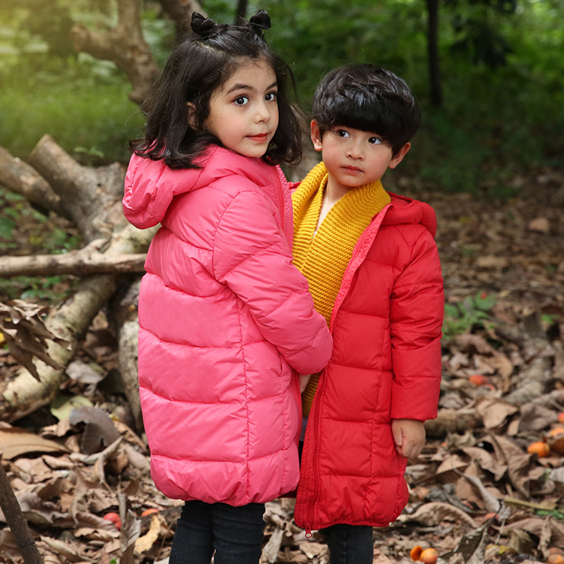 2018 Down Jacket For Girl Boys Winter Warm Hooded Coat Long Sleeve Baby Girl Toddler Boys Jacket Kids Parka Outerwear YCOC1805 2015 new mori girl wave raglan hooded loose sleeve medium long wadded jacket female page 5