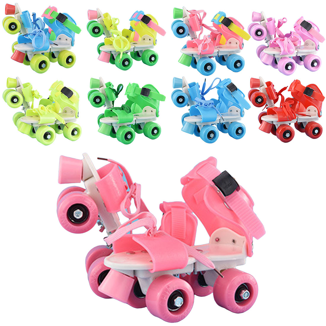 4 Wheels Children Roller Skates Double Row Adjustable Size Skating Shoes Sliding Slalom Inline Skates Kids