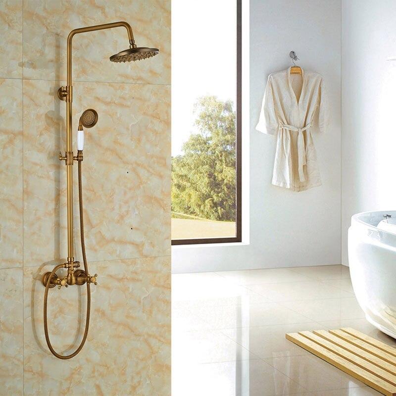 8 Antique Brass Shower Sets Bathroom Shower Faucet Creamic W/Hand Shower Faucet Mixer Tap rivoli satiro wave w c 2xe14 40w antique brass 10