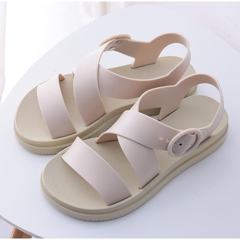 HTB19NagKIfpK1RjSZFOq6y6nFXaF MCCKLE Flat Sandals Women Shoes Gladiator Open Toe Buckle Soft Jelly Sandals Female Casual Women's Flat Platform Beach Shoes
