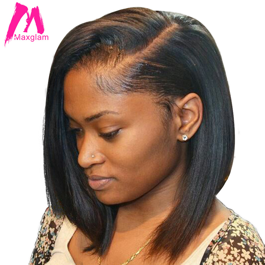 Maxglam 13x4 Short Lace Front Human Hair Wigs Brazilian Remy Hair Bob Wig with Pre Plucked