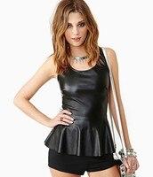 Manu 2016 Tank Top Ruffles Faux PU Leather Casual Women Tops Summer StyleTank Top