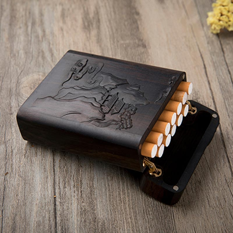 Retro Cigarette Box Portable Wooden Carving Gift  Cigarette Cases