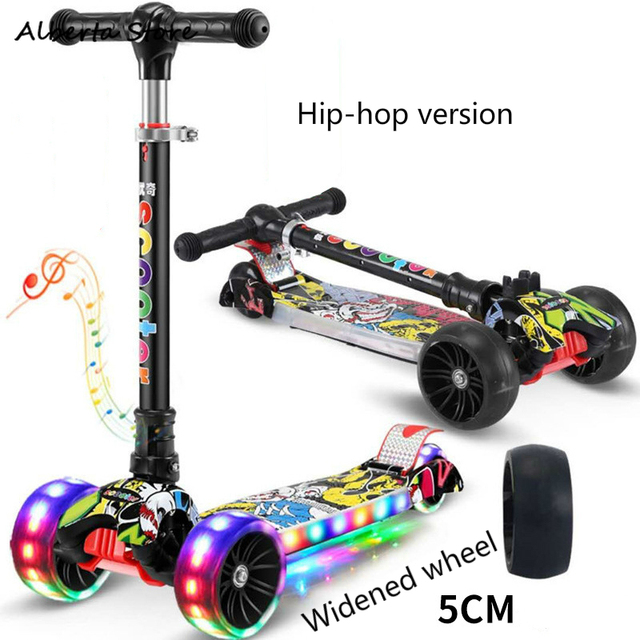 2019 Walkers Colorful Flash Music Roller Scooter New Aluminum Alloy Kick Scooter T Style Handle Bar Best Gifts for Children Kids