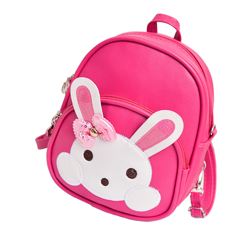 Conversible Waterproof Bag PU Leather Cartoon Baby Girl Bagpack for Kids Cute Cartoon Rabbit School Backpack for Toddlers
