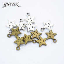 YuenZ 20pcs 2 colour Antique silver Plated star Smiley face Charms Pendants for Jewelry Making DIY Handmade Craft 14*12mm L326(China)