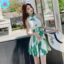 2019 лето новый корейский стиль узкий сексуальный зеленый лист с поясом печати полый A слово большое Лучший!