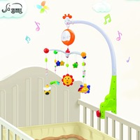 Newborn Baby Musical Mobile Holder Toys Hanging Bed Bell Crib Rotating Bracket Plastic Cartoon Rattles Infant