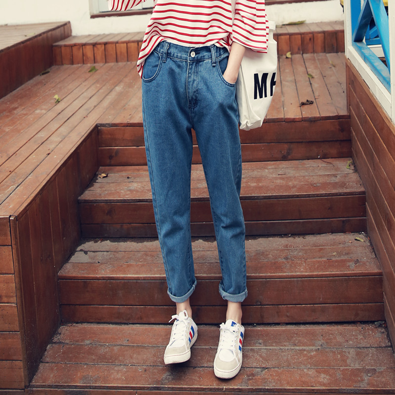 New 2017 Spring One Piece Casual Women Jeans High Waist Loose Harem Pants Light Washed Blue Retro Jeans Denim Pants