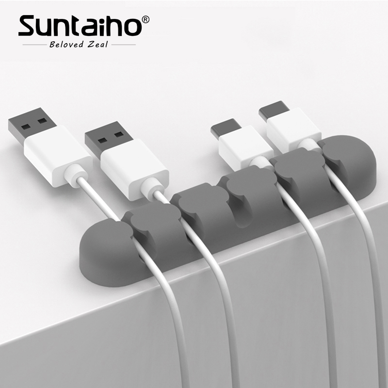 все цены на Suntaiho USB Cable Organizer Silicone Cable Winder Plug Holder Management Desk Wire Storage Device Desk Wire Organizer Earphone
