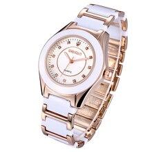 Weiqin novo branco rosa mulheres relógio de ouro pulseira de strass mulher cristal relógios de marca moda feminina vestido relógio de pulso