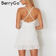 BerryGo V neck strap ruffles print summer dress women Sleeveless backless sashes mini dress 2017 fashion party dress robe femme