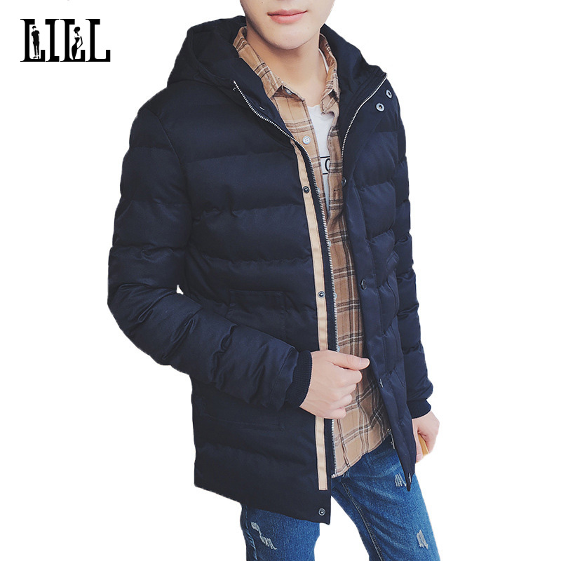 Men's Warm Casual Half Long Parkas Winter Men Thick Jackets Cotton 3XL Padded Coat Hooded OverCoat Black Male Outwear,UMA415