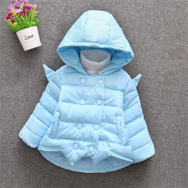 2016 candy colors baby girl clothing hot sale newborn lovely wing shaped winter warm outerwear 2 colors