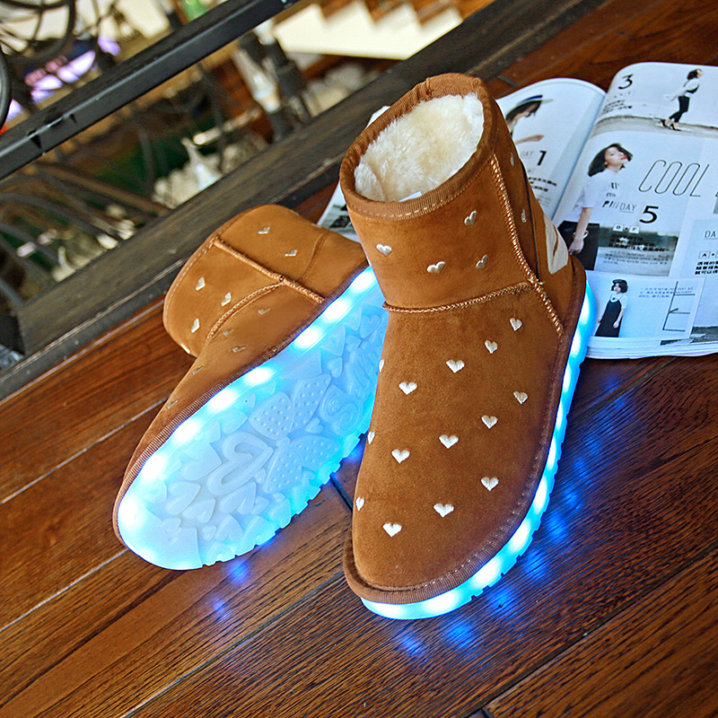 Winter Snow Boots Keep Warm Women Boots  2017 Fashion High Quality Plush LED Luminous Boots only true love high quality women boots winter snow boots