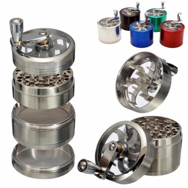4 Layers Aluminium Grinder Hand Crank Muller