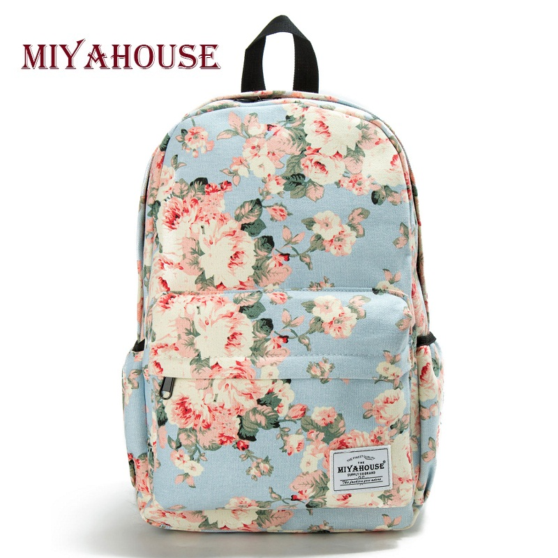 Miyahouse Fresh Style Women Backpacks Floral Print Bookbags Canvas Backpack School Bag For Girls Rucksack Female Travel Backpack fresh style stand collar elk print fleeced pullover sweatshirt for women