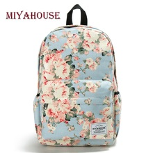 цена на Miyahouse Fresh Style Women Backpacks Floral Print Bookbags Canvas Backpack School Bag For Girls Rucksack Female Travel Backpack