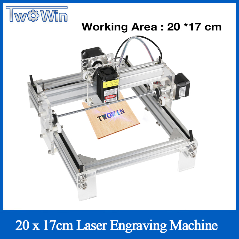Twowin 500mw/2500mw/5500MW Desktop DIY Violet Laser Engraving Machine Picture CNC Printer, Working Area 20cmx17cm CNC Router