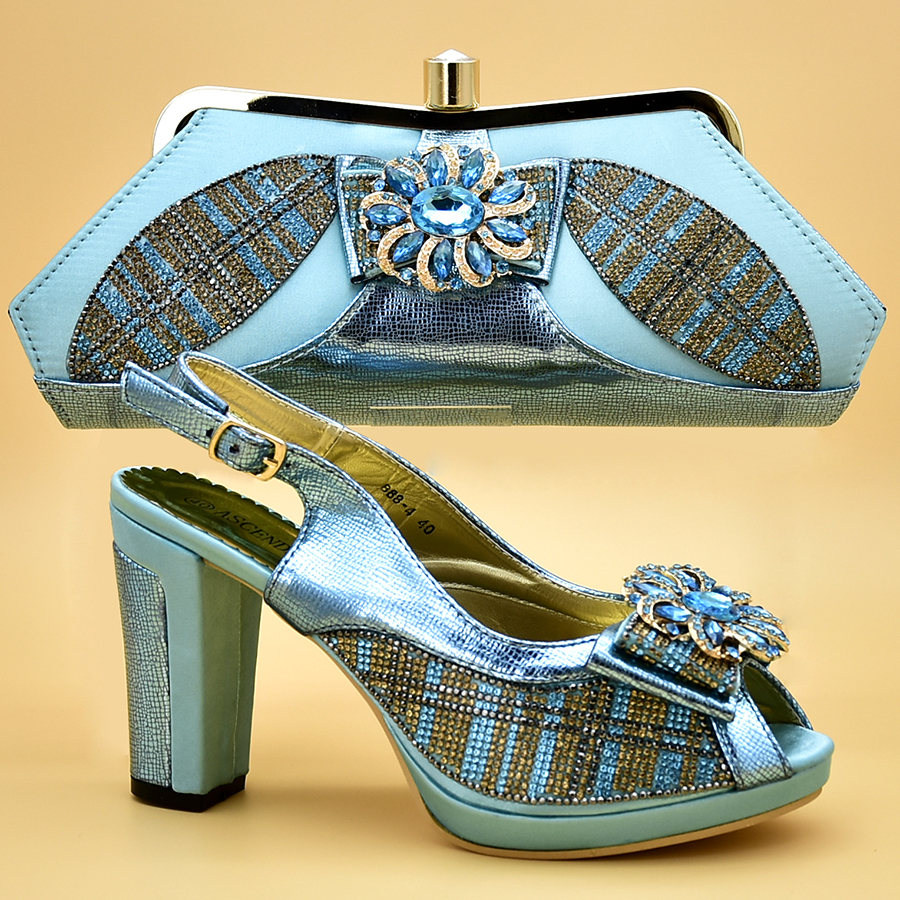 2018 Latest African shoe and bag set for party Water blue Italian shoe with matching bag new design ladies bag with stones hot glitter italy matching shoe and bag set with shinning stones with free shipping for party in sl08 size 39 43 red