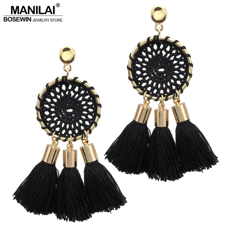 Manilai 7 colors nets weaving bohemia tassels earrings for women beach jewelry long dangle drop earrings