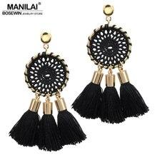 MANILAI 7 Colors Nets Weaving Bohemia Tassels Earrings For Women Beach Jewelry Long Dangle Drop Earrings Statement Brincos 2017