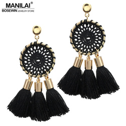 Manilai 7 colors nets weaving bohemia tassels earrings for women beach jewelry long dangle drop earrings.jpg 250x250