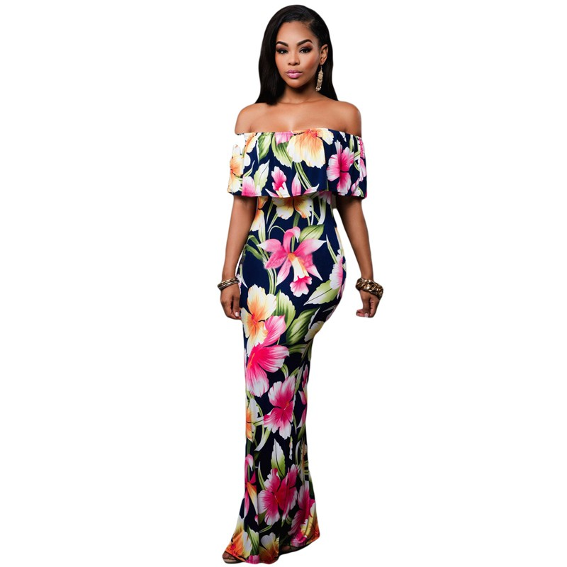 Zkess Tropical Print Dress Women Long Party Dresses 2017 Elegant Bohemia Dress Maxi Mermaid Gown Vestido de festa LC61189 20