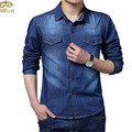 Algodão Slim Fit marca Denim Shirts 2016 New Long Sleeve azul cinza Chemise Homme Plus Size 5XL CD067