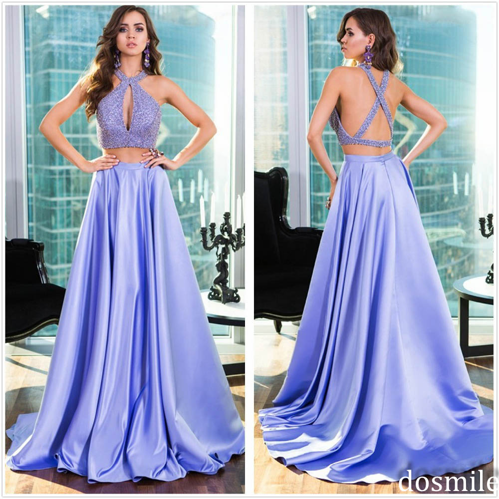 Unique 2 Piece Prom Dresses Real Photos Long Prom Gowns Open Back