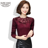 2016 New Arrival Fashion Korean Sexy Ladies Lace Blouse With Long Sleeved Autumn And Winter Hollow