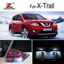 Супер белый светодиодный резервная лампочка заднего хода+ лампа номерного знака для Nissan X-Trail X Trail T31 T32 светодиодный внешний светильник(2007
