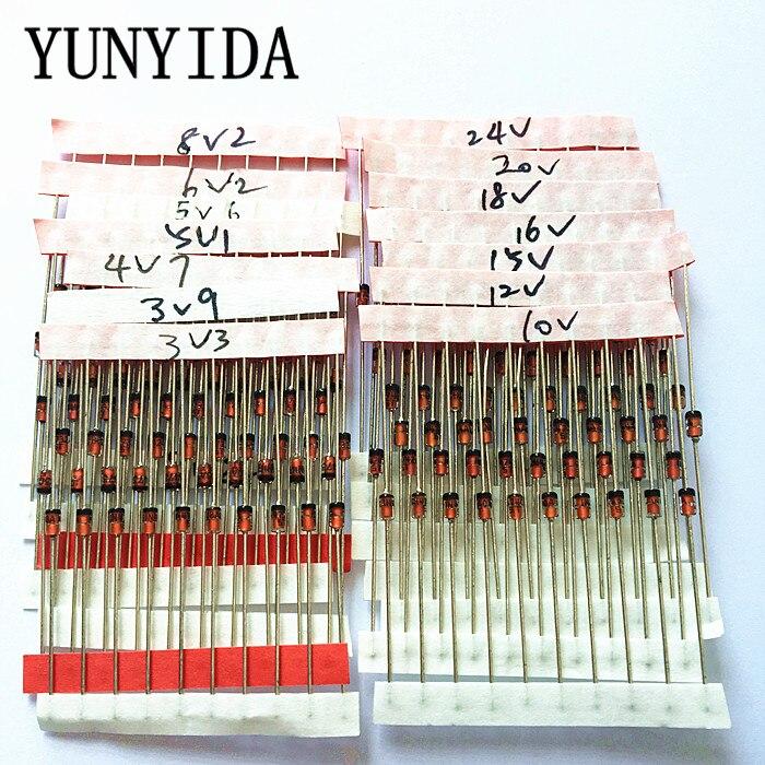 14 значений * 10 шт = 140 шт 1 Вт диодный набор Zener DO 41 3,3 В 30 в набор компонентов «сделай сам» Бесплатная доставка 1w zener diode kit diode kitzener diode kit   АлиЭкспресс