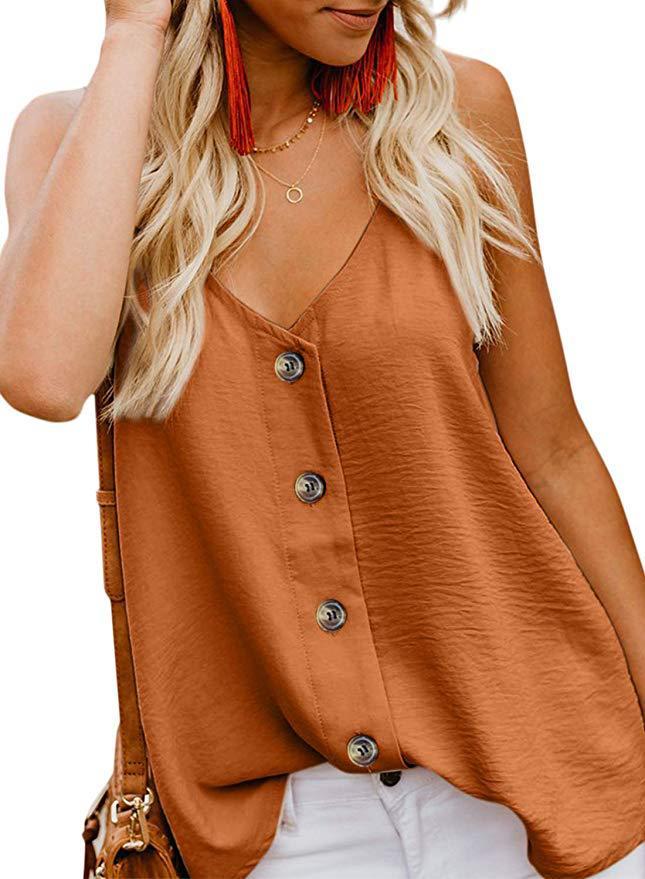 Shirt Tank-Top Loose-Top Female Women Sleeveless Blouses Vest V-Neck-Button Chiffon Casual