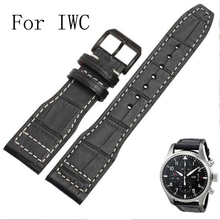 Luxury Band,New Black 21mm 22mm Genuine Leather Watch Strap,Watchband for IW C Portofino Pilot Portuguese Watch,With LOGO