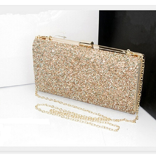2018 Women Bling Bags Gold Silver Box Clutch Evening Cross Body Bag 3