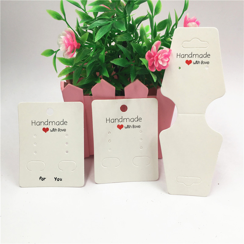50Pcs White Handmade With Love Series Fashion Earring Card Jewelry Necklace Bracelet Cards Kraft Paper Card Hot Shops Hang Cards