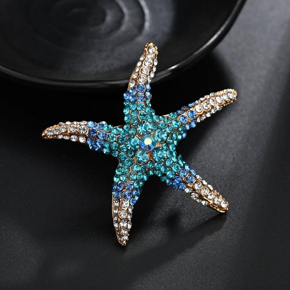 Terreau Kathy Optional Adorable Blue Crystal Rhinestone Starfish Brooches for women weddin