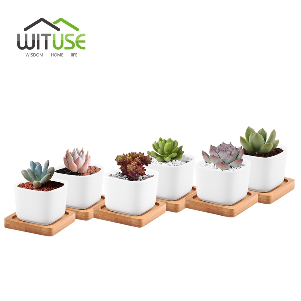 WITUSE Mini Flower Pots Planters with Bamboo Tray Home Decor Modern Decorative Small White Square Ceramic Succulent Plant Pot