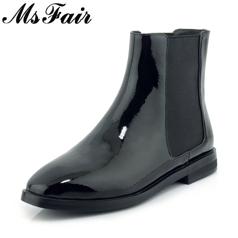 MsFair Square Toe Low Heel Women Boots Genuine Leather Elastic band Ankle Boots Women Shoes 2018 Winter Elegance Boots Women rasmeup women chelsea boots autumn winter elastic band ankle boots shoes low square heel martin boots vintage fashion boots