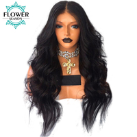 FlowerSeason 180 Density Pre Plucked Body Wave 13 6 Deep Part Lace Front Human Hair Wigs