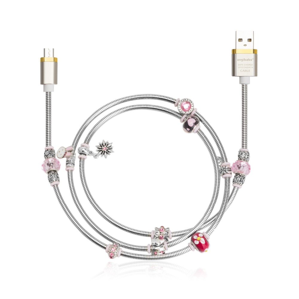 (Pink) ANGIBABE wire spring USB Cable 2A 1M DIY inlay
