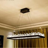 Rectangular Crystal Chandelier LED suspension luminaire Light for Restaurant Bar Home lustre lighting Living Room hanging lamps