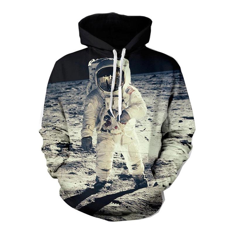 Headbook 2019 Nuova Protezione Di Modo Felpe Per Gli Uomini/Donne 3d Felpa Stampa Astronaut Moon Landing Con Cappuccio Felpe Pullover Felpa Con Cappuccio